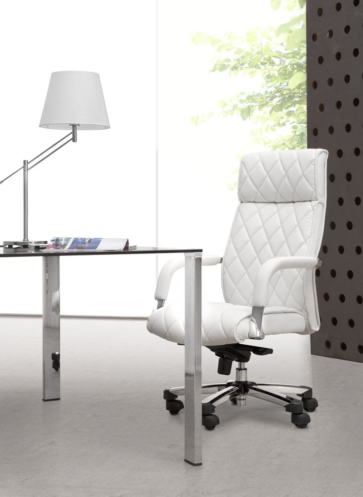 Office Workspace. Fashionable White Office Chair With Checkered Motive  Faced Glass Desk And Table Lamp