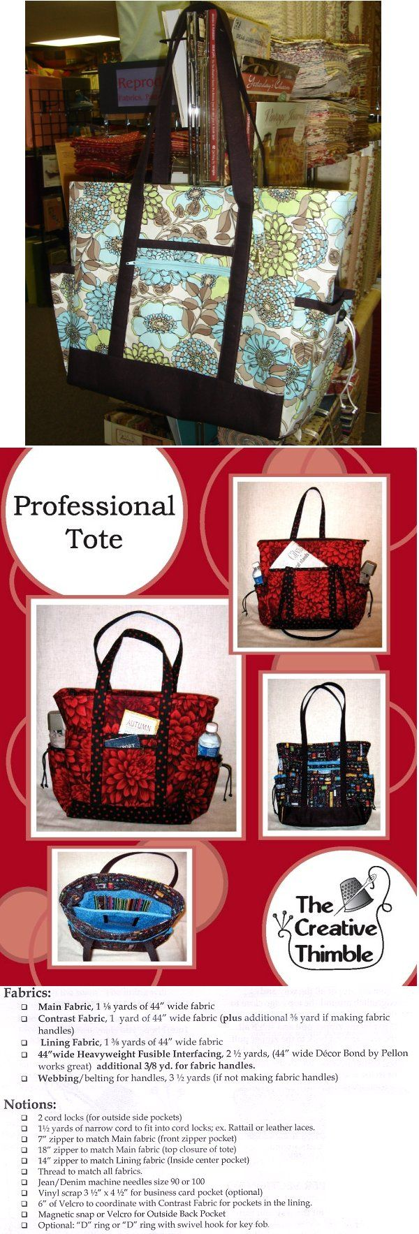 Professional tote bag pattern. Pockets inside and outside, including water bottle pouches on side. http://www.ericas.com/sewing/patterns/39059b.jpg
