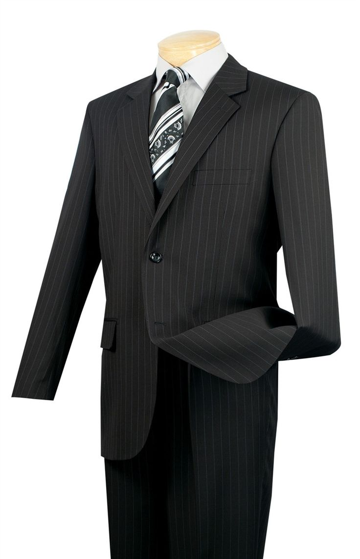 BUSINESS SUITS FOR MEN CLASSIC FIT SUITS 2 BUTTONS FANCY STRIPE IN BLACK NEW