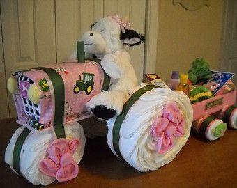 diaper cake tractor | john deere tractor and wagon for gi rls 75 00 usd shelvasdiapercakes