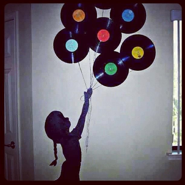 More of a Music lover theme here. Great way to use old records, that you don't use. Can do so many different decorations on a wall with them. I did a Chevron pattern on mine, more adult themed. DIY house decor. #undonestar