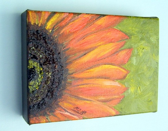 Orange Sunflower oil painting  love this