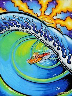 TUBE BOY (c) Drew Brophy 2003 - mixed media on wood - WHAM O boogie board license art