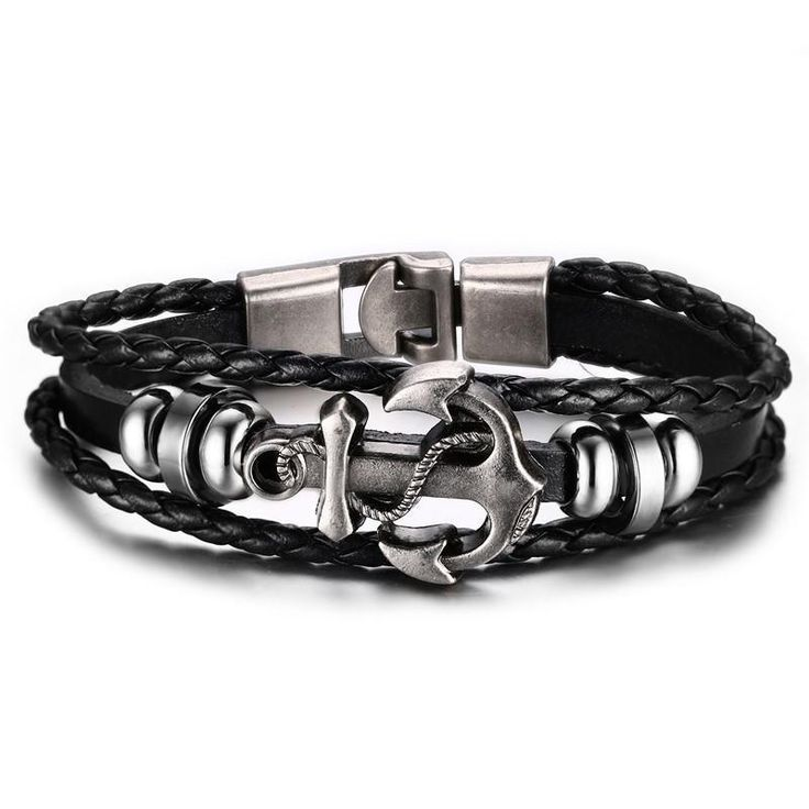 Multilayer Stainless Steel Anchor Bracelet