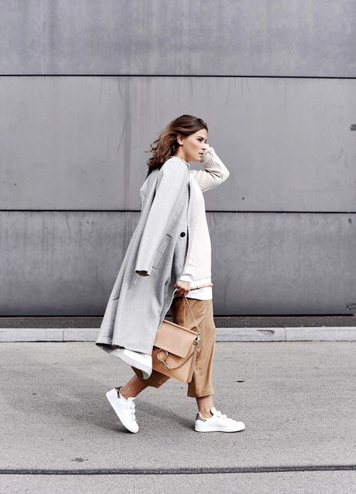 grey coat, cream sweater, Chloe bag, camel culottes and white Stan Smith Adidas sneakers
