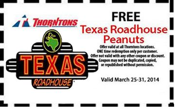 If you've got a Thorntons near you, here's a nice freebie with coupon! Get FREE Texas Roadhouse Peanuts at Thorntons valid until March 31. http://www.pinterest.com/TakeCouponss/texas-roadhouse-coupons/