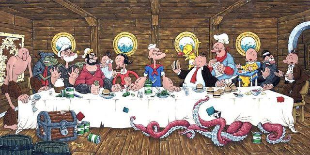 En 1933, Popeye recibió un bebé por correspondencia, al cual adoptó y bautizó Cocoliso. Otros personajes regulares dentro de la tira cómica fueron Pilón, un vividor glotón y amante de las hamburguesas; George W. Geezil, un zapatero barbudo que no se llevaba bien con Pilón; y Eugene the Jeep, un animal amarillo traído de África. Además estaba la Bruja del mar (última bruja sobre la tierra) y Alice the Goon, su secuaz.