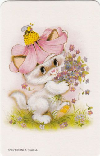 *Vintage 70's Swap/Playing Cards - 1 Single - cute little cat out walking