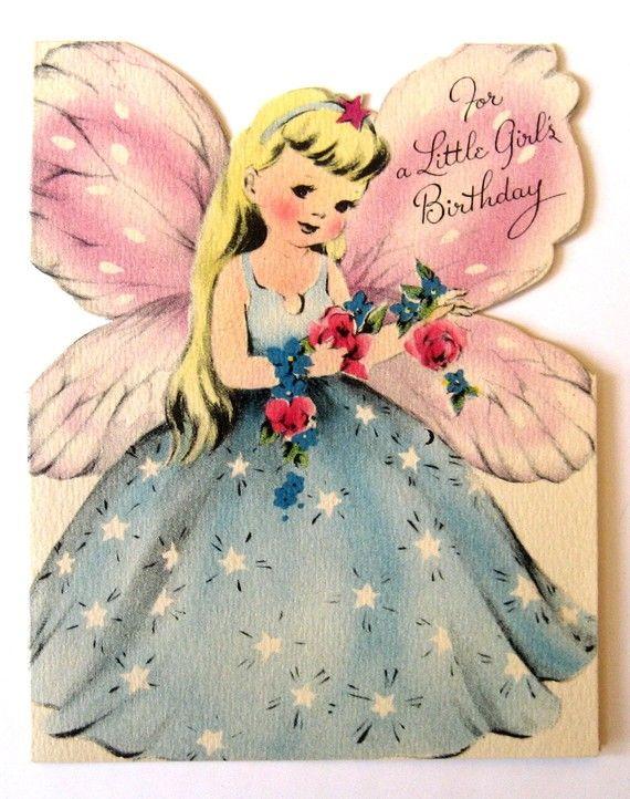 ┌iiiii┐                                                             Vintage  Birthday Card - For A Little Girl's Birthday
