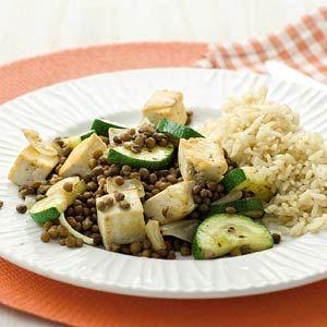 Recept - Roerbakmaaltje met linzen, tofu en courgette - Allerhande