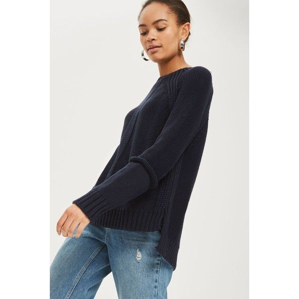 Topshop Seam Detail Jumper (£20) ❤ liked on Polyvore featuring tops, sweaters, navy blue, navy blue jumper, navy jumper, topshop jumpers, navy sweater and topshop tops