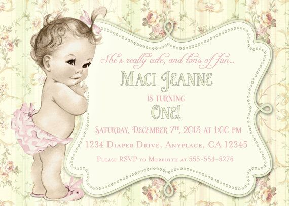 First Birthday Invitation Shabby Chic Floral Vintage Birthday Invitation For Girl - Soft Pink and Green - DIY Printable