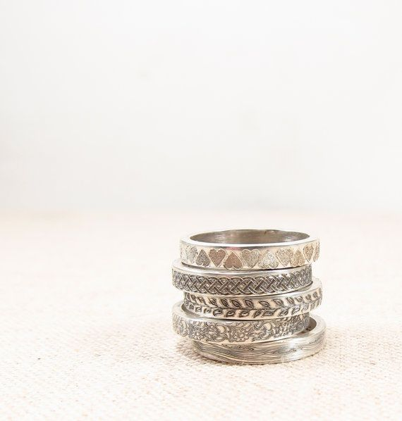 Silver Pattern Ring -  Silver Jewelry - Stacking Rings - Silver Wedding Band on Etsy, $30.00