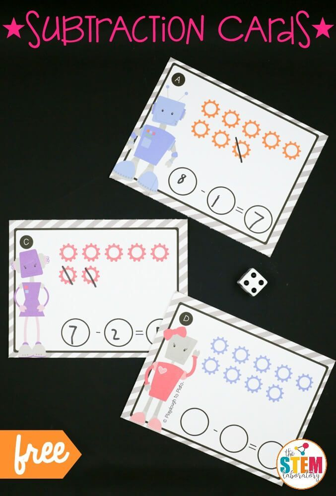 What a fun subtraction activity for kids! Roll the die, cross off the hex nuts and write the problem. Great STEM box idea or math center!