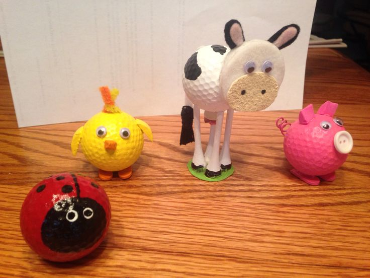 Golf ball chicken, pig, cow and lady bug