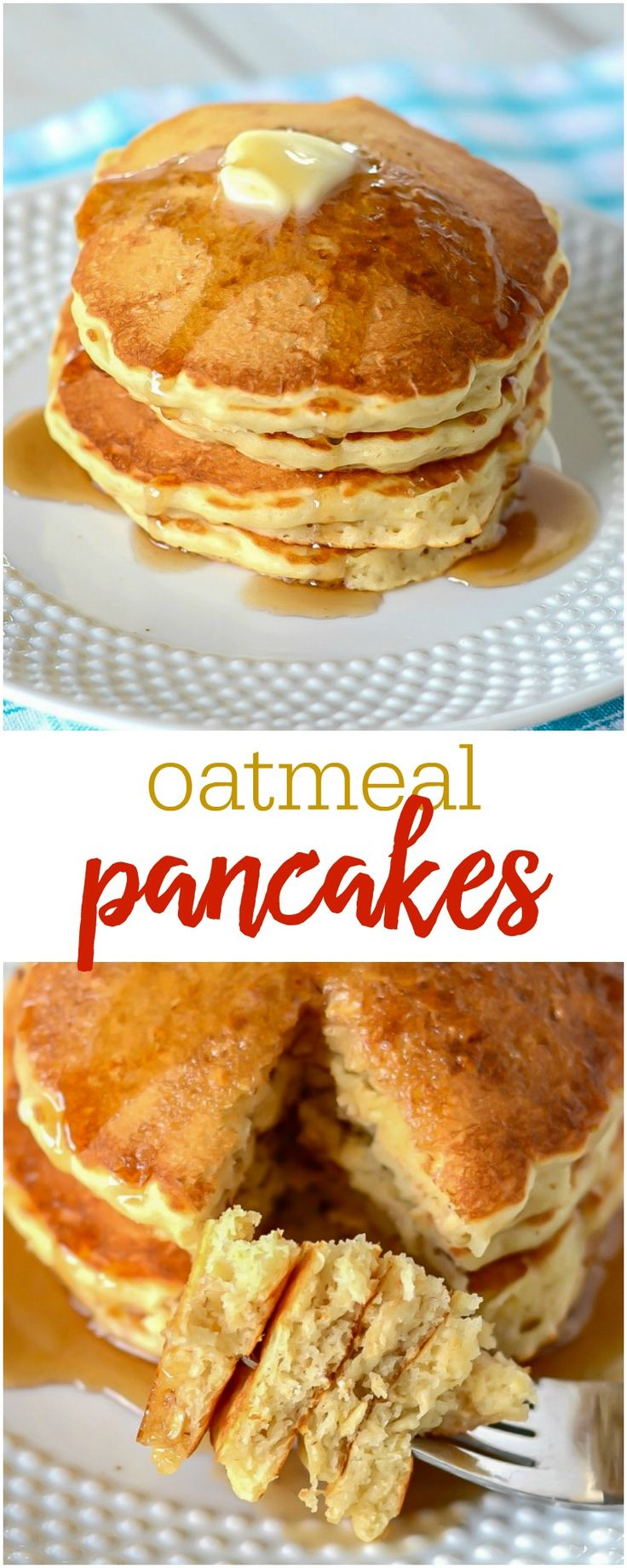 Delicious Homemade Oatmeal Pancakes - this simple recipe is one the whole family will enjoy for breakfast!