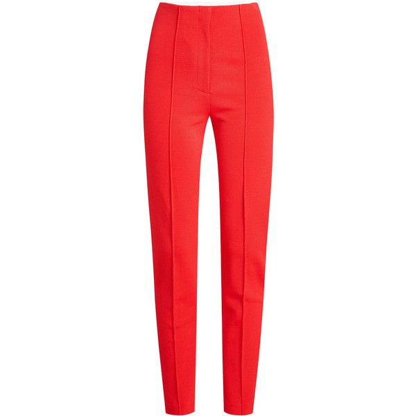 Diane von Furstenberg High Waist Skinny Pants (€237) ❤ liked on Polyvore featuring pants, red, high-waist trousers, red trousers, high-waisted pants, red skinny pants and high waisted trousers