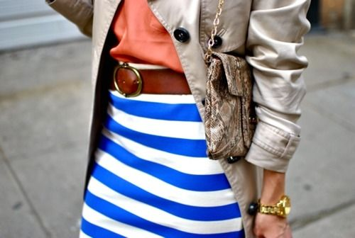 brightness: Colors Combos, Bold Stripes, Stripes Skirts, Colors Schemes, Blue Stripes, Trench Coats, Bold Colors, Leather Belts, Blue And White