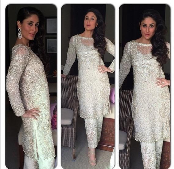 Kareena's white salwaar by Faraz Mannan
