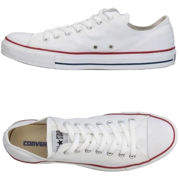 Converse All Star Low-tops & Sneakers ($84) ❤ liked on Polyvore featuring shoes, sneakers, white, converse trainers, white low top sneakers, low profile sneakers, low top and white flat sneakers