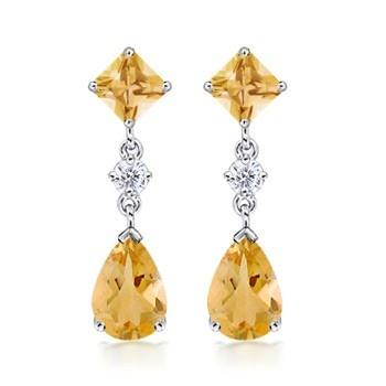 Angara Pear-Shaped Citrine and Diamond Flower Stud Earrings jxx4vF