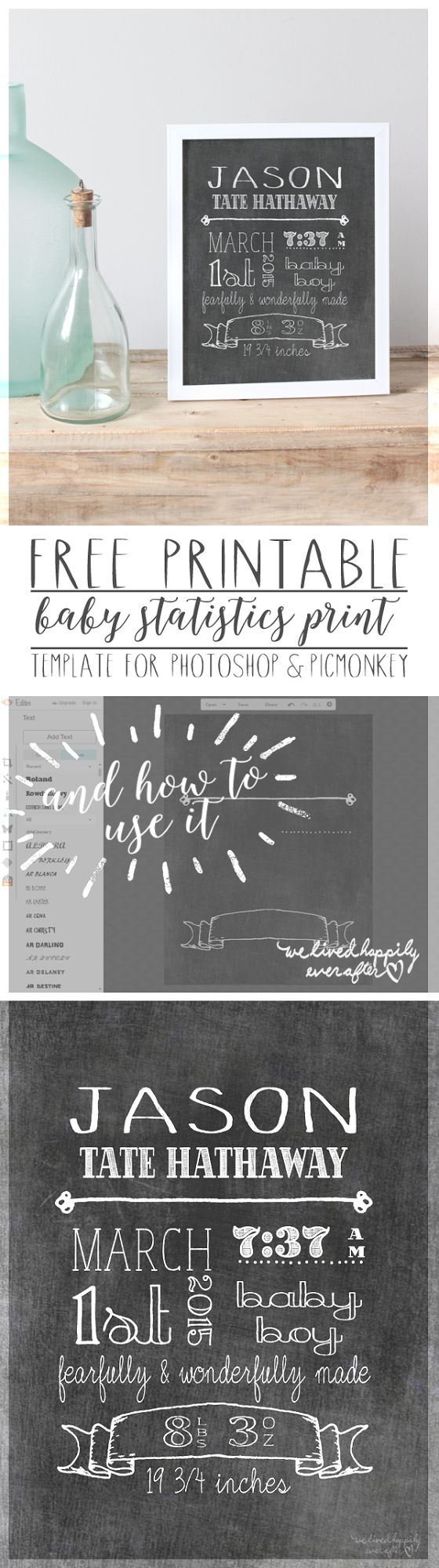 Free Baby Statistics Printable Template (for Picmonkey & Photoshop)