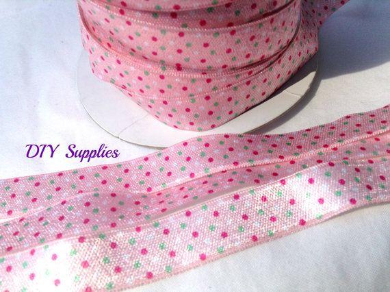 5/8 Pink polka dot fold over elastic - FOE - Wholesale headband supplies - DIY Supplies  - baby headband elastic - elastic hair ties