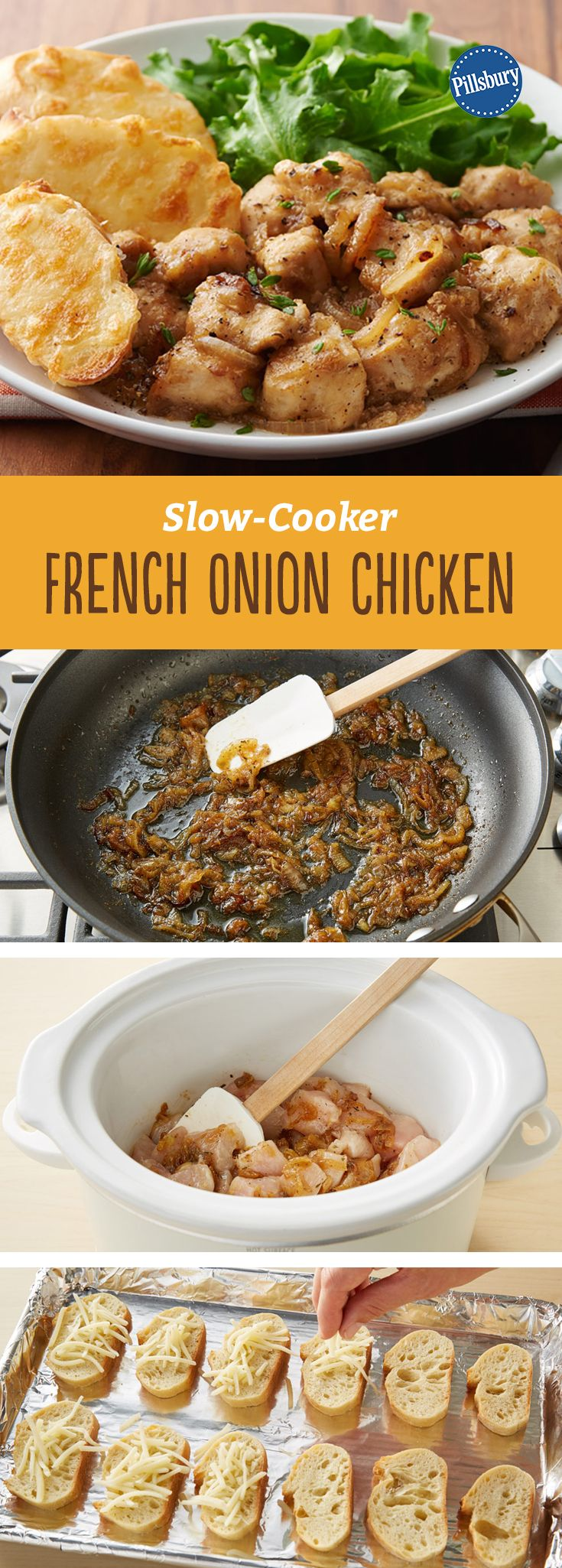Slow-Cooker French Onion Chicken: Love French onion soup? So do we. Which is why this slow-cooker chicken dinner recipe is one of our new favorites!