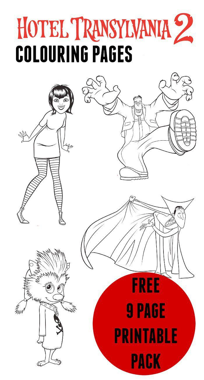 Hotel transylvania colouring pages. Free 9 page pack featuring colouring sheets with all the main characters. Great movie for Halloween