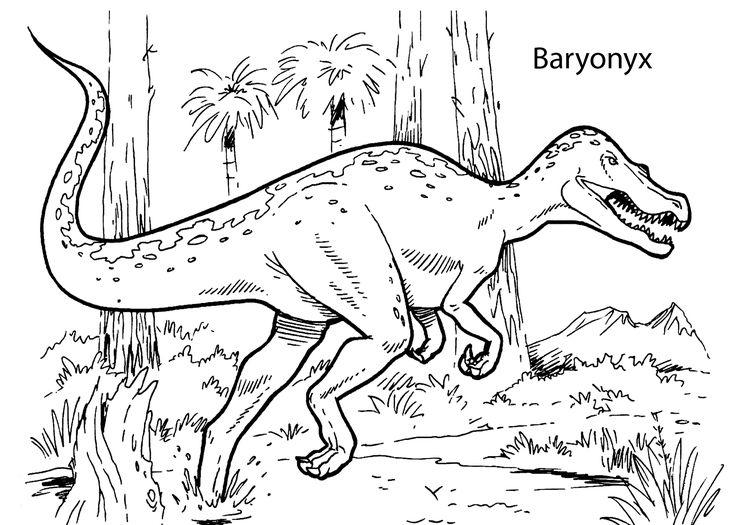 Kleurplaten Raptor Baryonyx Dinosaur Coloring Pages For Kids Printable Free