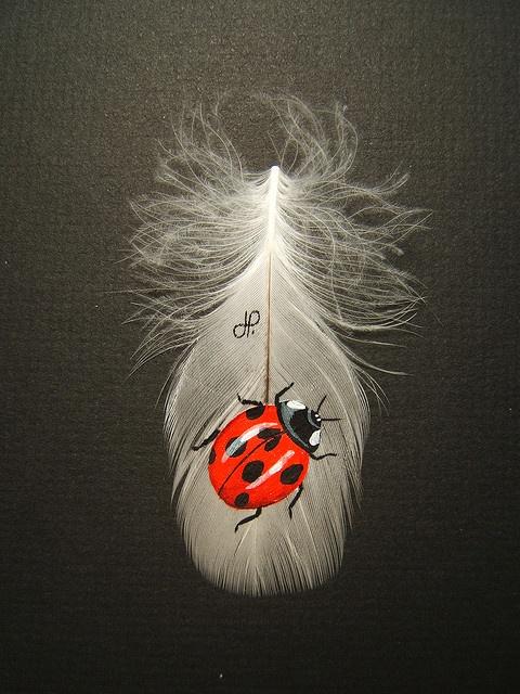 Ladybug painted on feather