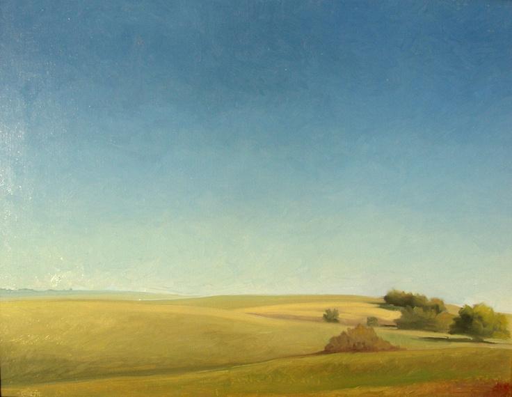 """Shimmerback"" by Jerry Moon Fine Art-Oil-Landscape-Painting-Kansas City, Missouri-Midwest-Sunny-Trees-Blue-Green-Serene-Flint Hills"