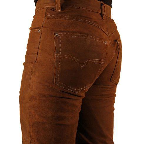 mens leather pants FUENTE CAMEL LION nubuck leather ...