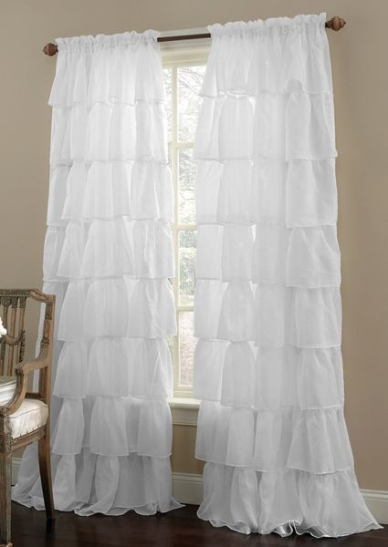 shabby chic curtains gypsy ruffled sheer curtain panel only - Sheer Curtain Panels