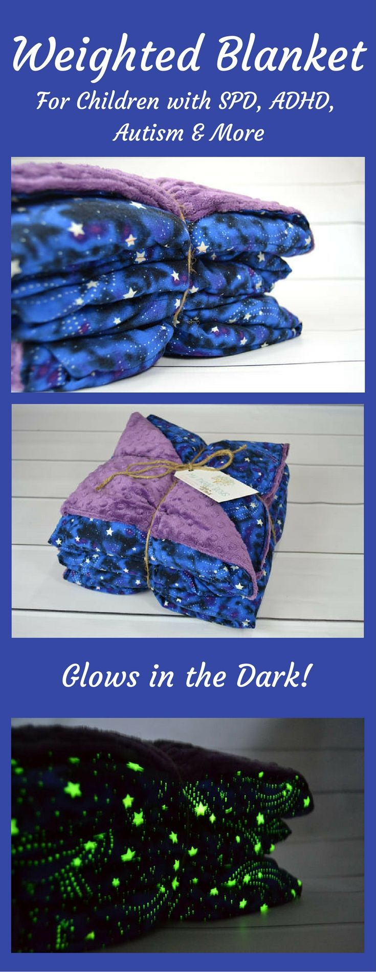 Weighted Blanket for Child - Glow in the Dark Night Sky and Luxurious Complementing Minky (35x50 inches)