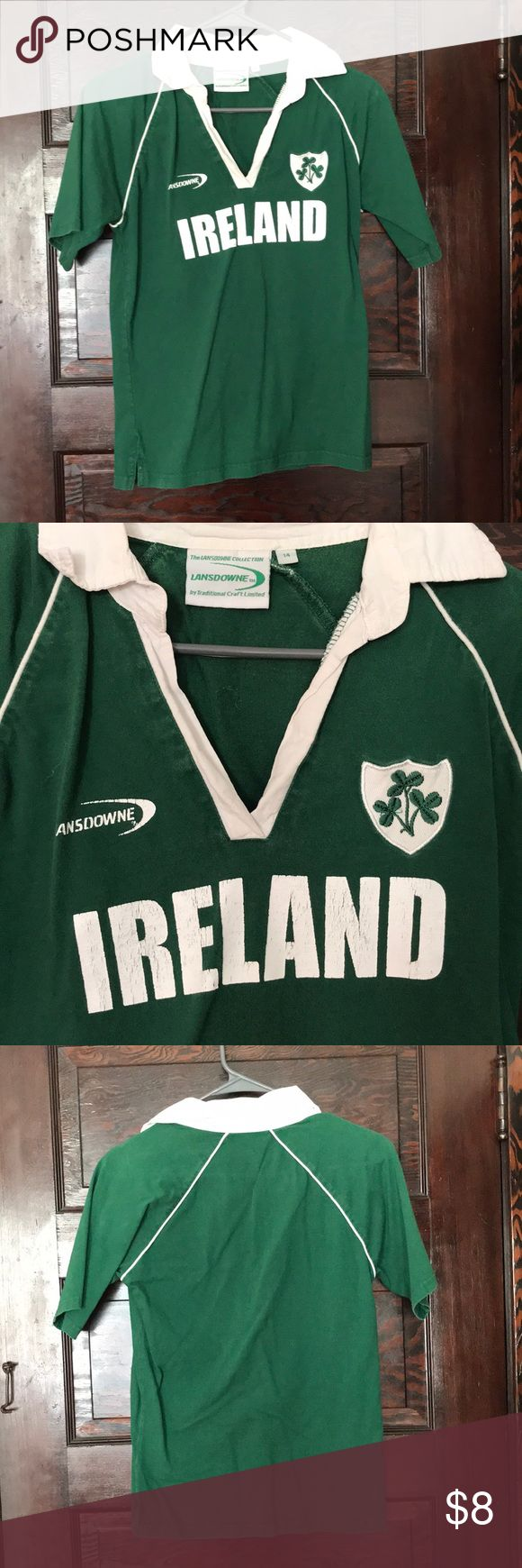 Irish Rugby Shirt Rugby shirt for Ireland. Collared shirt with logo. There is sign of wear but still works for a wonderful St. Patty's Day shirt! Child size 14 but I usually wear a woman's small and it fits me just fine Tops Tees - Short Sleeve