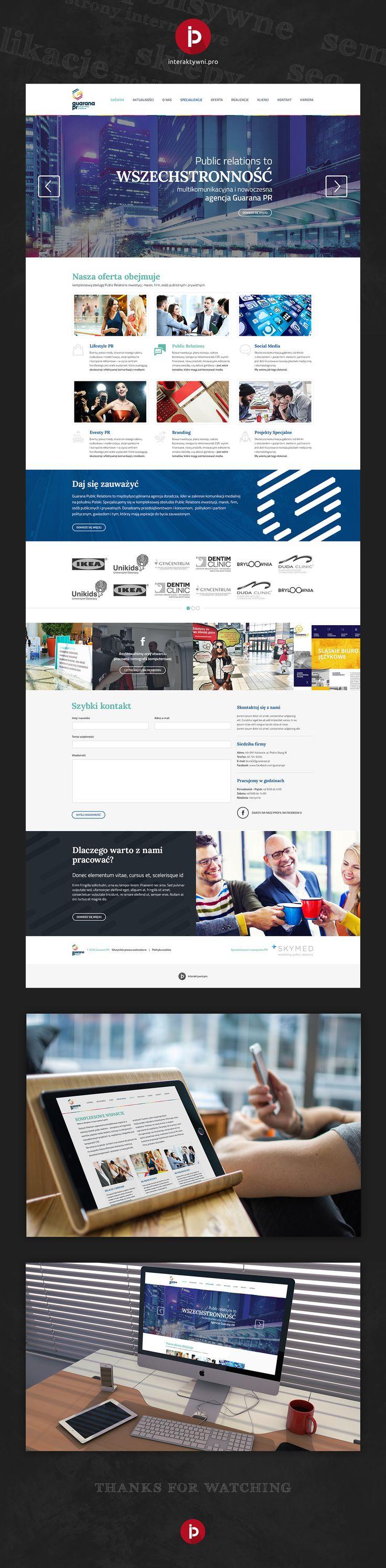 Responsywna strona internetowa dla agencji PRowskiej GuaranaPR. Informacyjna platforma przeznaczona do działań firmy bazująca na autorskim systemie CMS. Pełna realizacja w rękach Interaktywni.pro.  -------- || --------  Responsive website for public relations agency - Guarana PR. The whole project in carefull hands of our team - Interaktywni.pro.