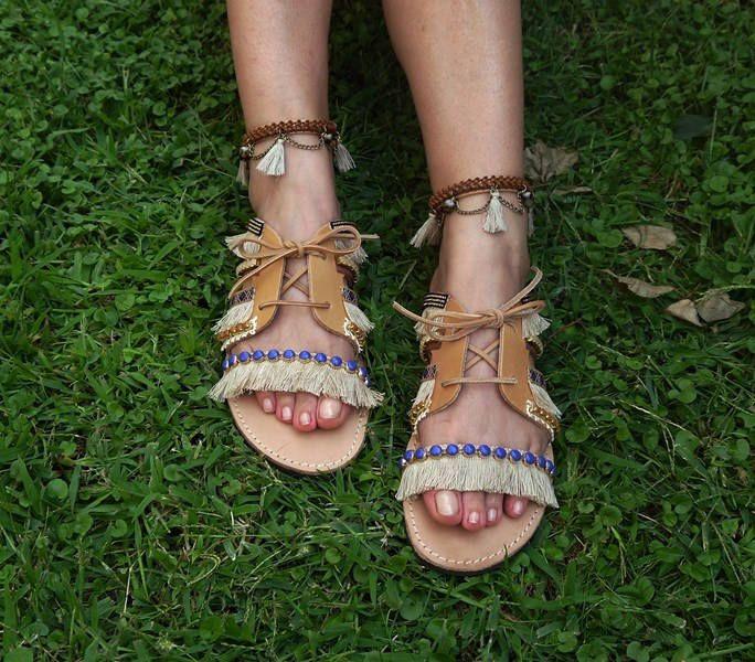 "Leather Sandals, Greek Sandals, Bohemian Style, Handmade Sandals,Strappy Leather Sandals, Gladiaror sandals,""Ikaria"""