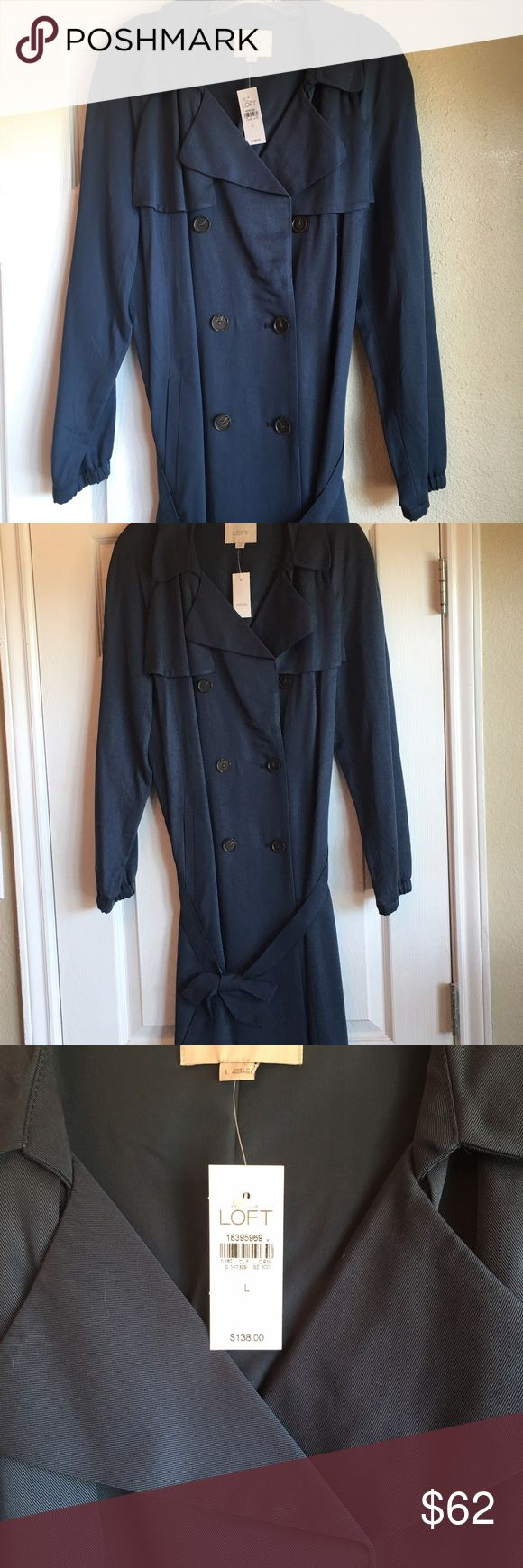 Loft lightweight trench coat Never worn!  Blue trench, fully lined, with belt. LOFT Jackets & Coats Trench Coats