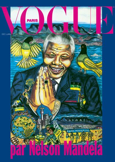 Hommage à Nelson Mandela     Symbole de paix pour le monde entier, Nelson Mandela s'est éteint. Vogue Paris lui rend hommage et se souvient de son portrait réalisé au colorama en couverture du numéro de décembre 1993.
