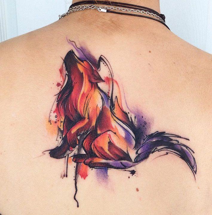 Wolf Watercolor Back Piece   Best tattoo ideas & designs