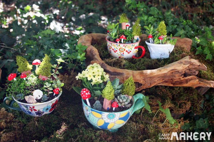 Create a Miniature Teacup Garden | Camp Makery   Includes DIY instructions for the mushrooms and houses from air dry clay