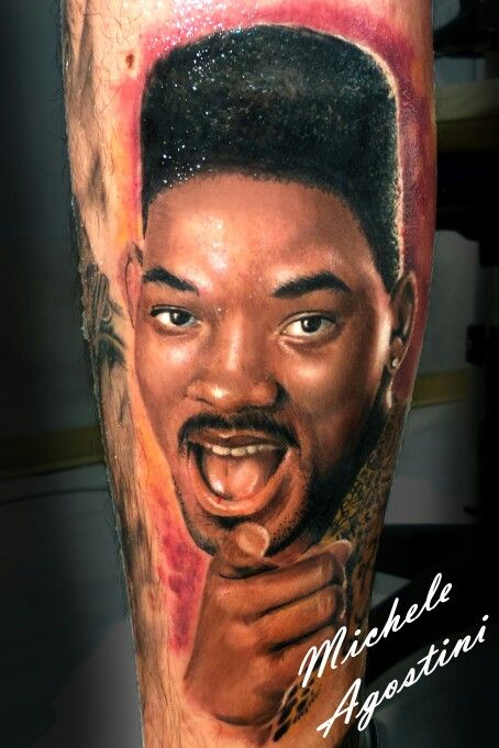 Fresh Prince ! Will Smith in color tattoo portrait by Michele Agostini -Tribal Tattoo Studio Roma . Realistic tattoo