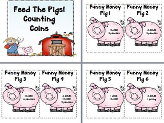 """Feed the Pigs"" Math Station... need to get piggy banks from Dollar Tree when I run into them."