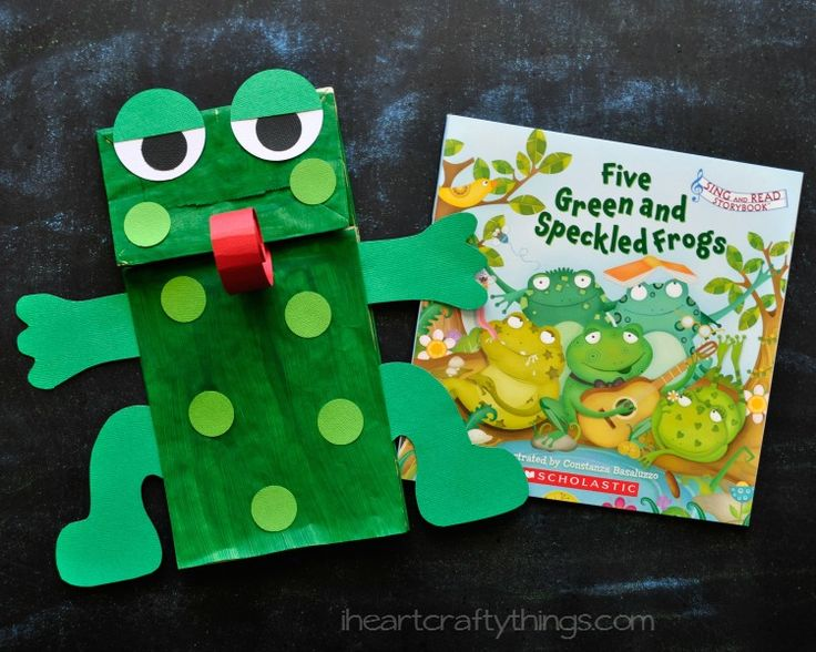 Kids will love making a Paper Bag Frog Puppet to go with the book Five Green and Speckled Frogs.