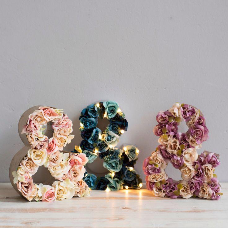 Light up custom flower ampersand light, light up letters, letter lights, flower letters, marquee lights by TheWhiteBulb on Etsy https://www.etsy.com/listing/244786291/light-up-custom-flower-ampersand-light