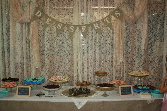 Ivory Rustic Burlap DESSERTS Banner Bunting Sign Garland Country Chic Western Wedding Reception Decoration Decor on Etsy, $26.00