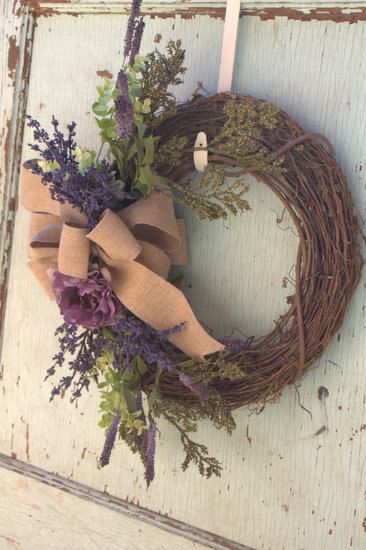 Spring wreath, Easter wreath, burlap Purple wreath. $45.00, via Etsy.