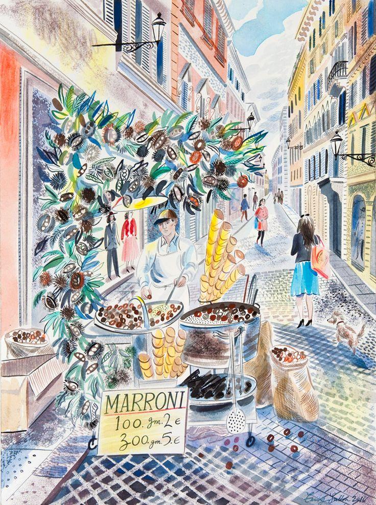 Emily Sutton's 'Chestnut Seller, Rome' watercolour