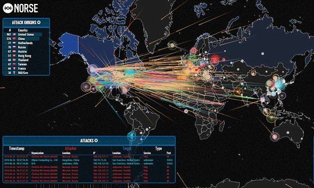 Map shows the amount of cyber attacks around the world in real time